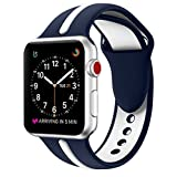 EloBeth for Apple Watch Band, Soft Silicone Sport Style Replacement Wrist Strap Stripe Color Splicing for Apple Watch Bands Series 3/Series 2/Series 1 (Blue/White 42mm)