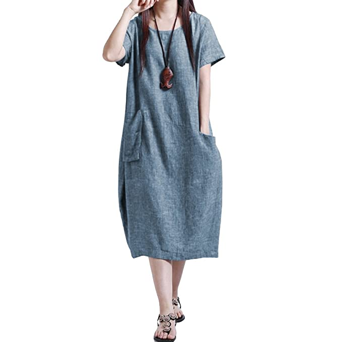 da52eecc17 Romacci Women Baggy House Dress Casual Solid Loose Long Dress O-Neck Short Sleeve  Dress