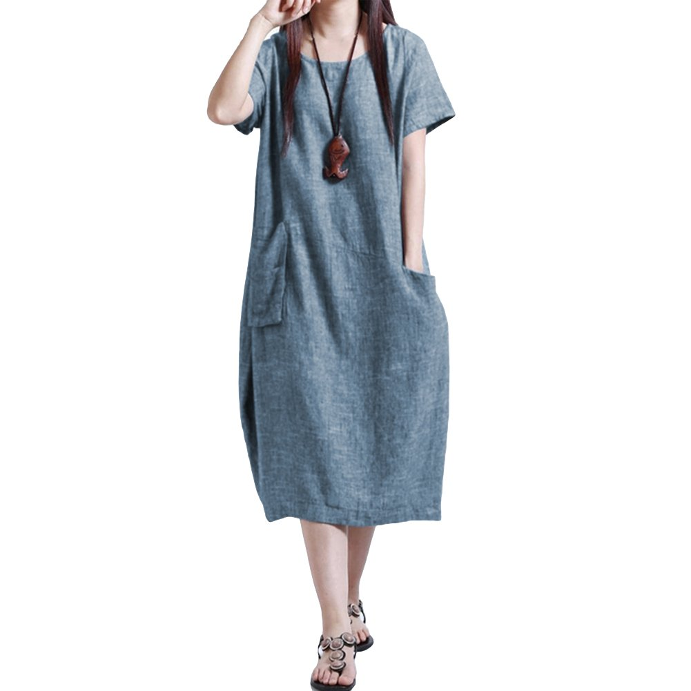 Romacci Women Baggy House Dress Casual Solid Loose Long Dress O-Neck Short Sleeve Dress with Pocket Plus Size S-5XL
