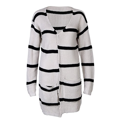 Jacket Beige Tianya Winter Womens Autumn Knitted Sweater Fashion Cardigan Long Clothing Coat Crochet Stripe Sleeve qxUaOg