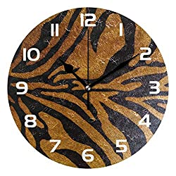 Dozili Animal Tiger Leopard Print Decorative Wooden Round Wall Clock Arabic Numerals Design Non Ticking Wall Clock Large for Bedrooms, Living Room, Bathroom
