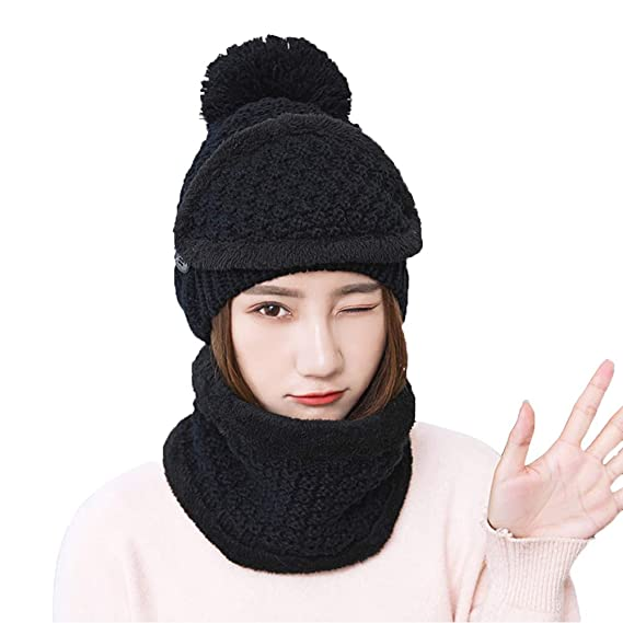 8dadcf4a18 SIFANG 2+1 Pieces Winter Beanie Hat Scarf Set Warm Knit Thick Fleece,Skiing