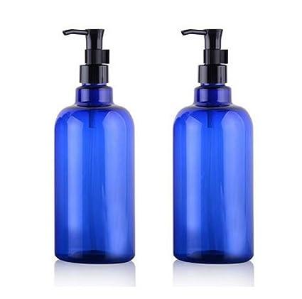 2 pcs plástico bomba botellas frascos contenedores con negro bomba Tops – 500 ml vacío recargable