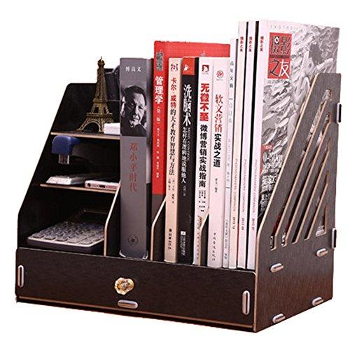 Alexzh Wooden Office Supplies, Desktop Storage Box, Drawer Book, Creative Bookshelf, File Information, Stationery Rack (Color : O)