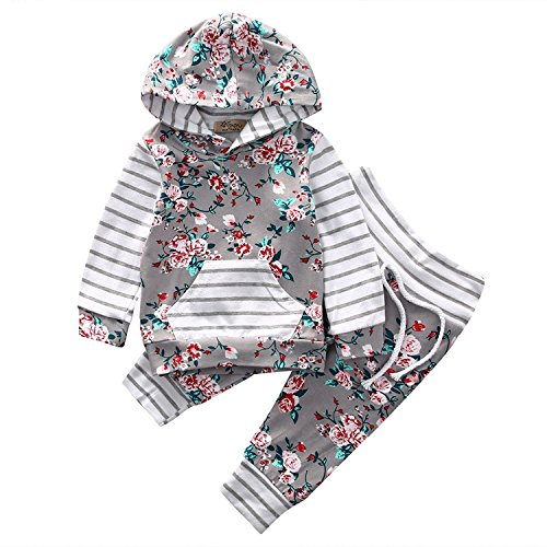Okgirl Baby Girl Long Sleeve 2pcs Outfit Flower Print Hoodies with Pocket Top+Striped Long Pants