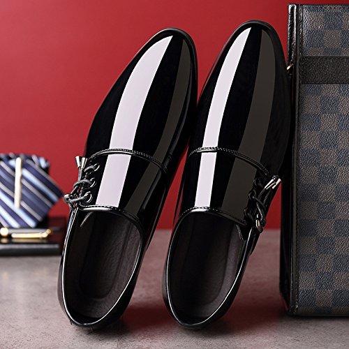 Zapatos Transpirables Vestir Zapatos para Negocios De Boda De con De Zapatos Zapatos Hombres De Black De Charol Detalles Zapatos Cuero 4BqaBF