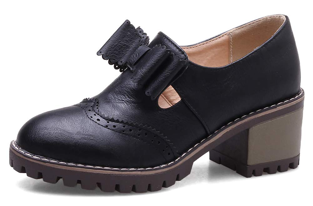 IDIFU Women's Classic Bow Round Toe Mid Chunky Heel Platform Elastic Pumps Shoes for School (Black, 9 M US)