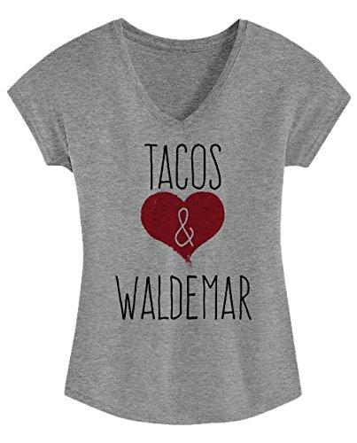 I Love Tacos & Waldemar - Cute, Stylish Ladies' Triblend V-neck