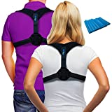 Posture Corrector Back Support Brace ~ Includes Exercise Band ~ Fix Posture ~ Ease Pain ~ Adjustable ~ for Men & Women ~ for Thoracic Kyphosis and Shoulder Support ~ Neck Pain Relief ~ by Magnio
