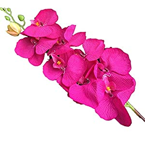 jiumengya 10pcs Artificial Phalaenopsis Butterfly Moth Orchid Fake Orchids Flower for Wedding Centerpieces Decorative Artificial Flowers (Fuchsia) 20