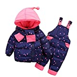LPATTEN Kids Baby Toddler Winter Snowsuit Polka Dot Puffer Jacket Hoodie Coat Down Snowpants Bib Down Coat 2 Piece Clothing Outfit Set, Dark Blue, Age 12-24 Month/Tag 90