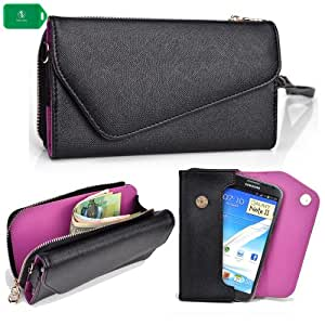 WRISTLET SMARTPHONE HOLDER WITH FULL ZIP COMPARTMENT- BLACK/ PURPLE- UNIVERSAL FIT FOR ZTE Blade Q Maxi