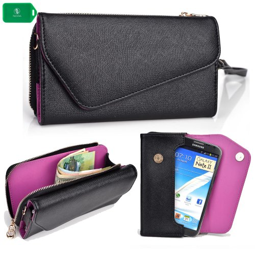 CELL PHONE HOLDER WALLET WRISTLET-BLACK/ PURPLE[UNIVERSALLY DESIGNED] FITS Alcatel One Touch Idol X+