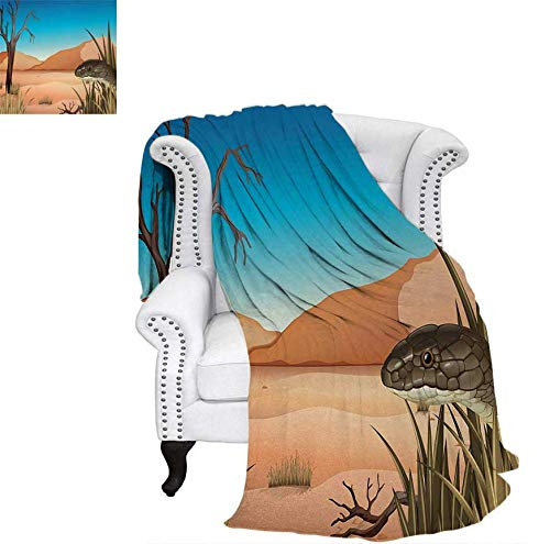 Warm Microfiber All Season Blanket Grumpy Snake Looking from Grass at Desert Tropical Nature Poison Wildlife Home Print Artwork Image 70