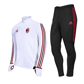 ae8aaad4a10 2017 2018 AC Milan Football Soccer Training Jersey Practice Tracksuit Sets  In White For Men  Amazon.co.uk  Sports   Outdoors