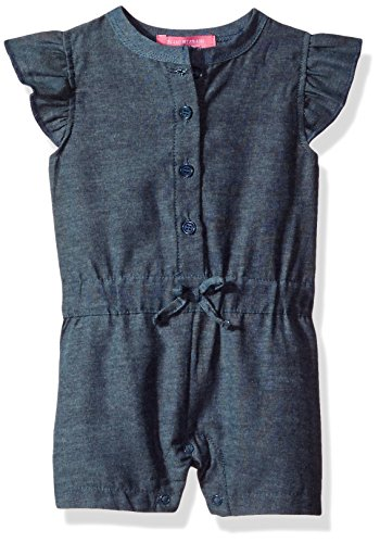 Isaac Mizrahi Baby Girls' 1 Piece Chambray Button Front Romper, Blue Chambray, 0-3 Months
