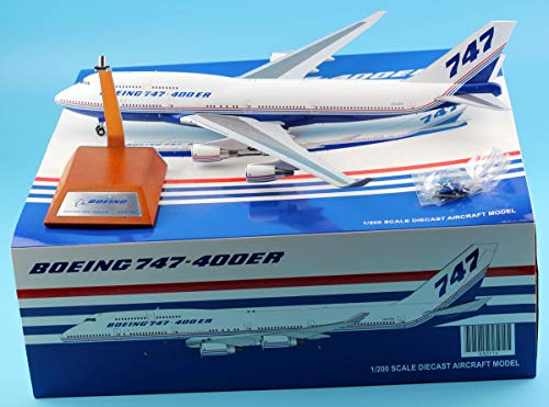 400 Range 747 - JC Wings 1:200 XX2174 Boeing 747-400 House Colour Diecast Aircraft Model Reg#N747ER