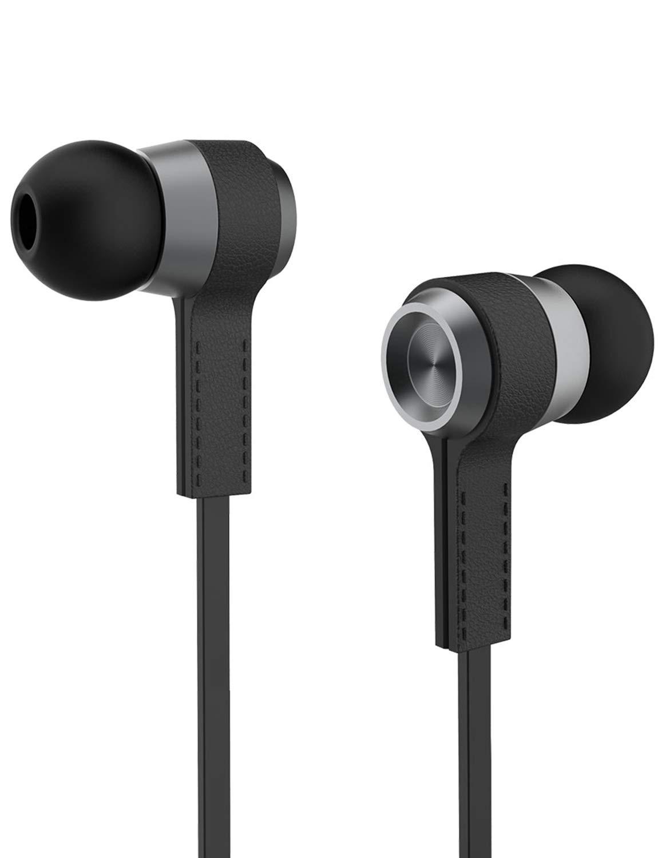 VEENAX M6 Cuffie Auricolari in Ear con Microfono, Sport Cuffiette Stereo con Cavo e Bassi Potenti per iPhone Samsung Xiaomi Huawei Cellulari Tablet PC, Nero