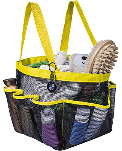 Attmu Portable Caddy with 8 Mesh Storage Pockets, Quick Dry Shower Tote Bag Oxford Hanging Toiletry and Bath Organizer for Shampoo, Conditioner, Soap and Other Bathroom Accessories, Yellow ()