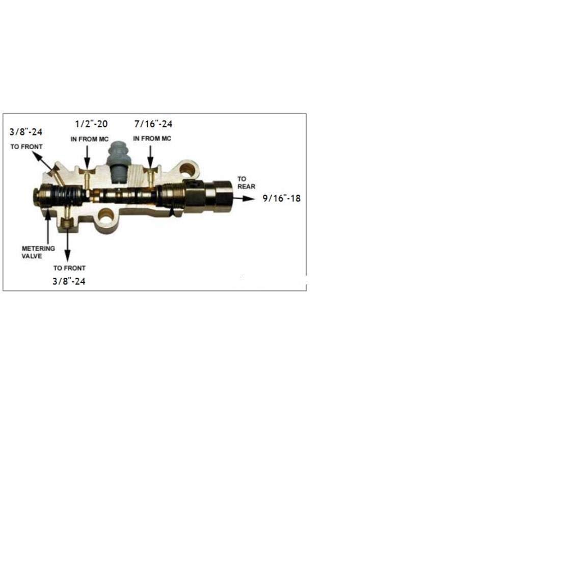 GM Disc//Drum Proportioning Valve for 1//2-20 9//16-18 Outlets