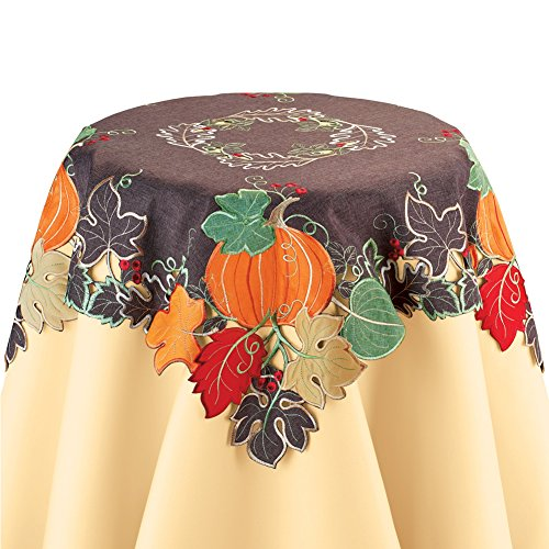 - Collections Etc Fall Leaves and Pumpkins Applique Table Runner/Topper with Embroidered Wreath, Square