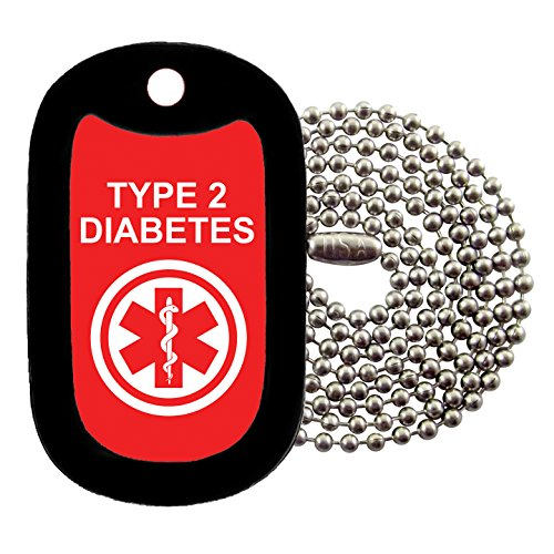 Tag-Z Military Dog Tags - Medical Alert Type 2 Diabetes Dog Tag Necklace