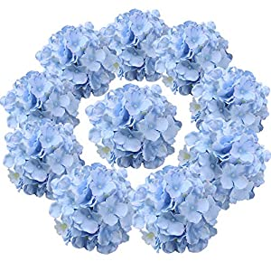 Flojery Silk Hydrangea Heads Artificial Flowers Heads with Stems for Home Wedding Decor,Pack of 10 (Blue) 48