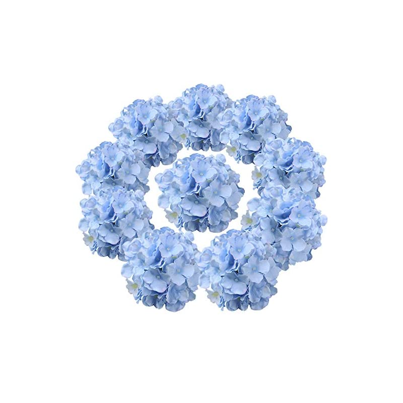 silk flower arrangements flojery silk hydrangea heads artificial flowers heads with stems for home wedding decor,pack of 10 (blue)