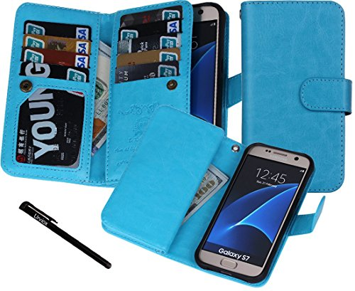 Price comparison product image Urvoix Galaxy S7 Case,  Wallet Leather Flip Card Holder Case,  2 in 1 Detachable Magnetic Back Cover for Samsung Galaxy S7 G930 (NOT for S7 Edge)