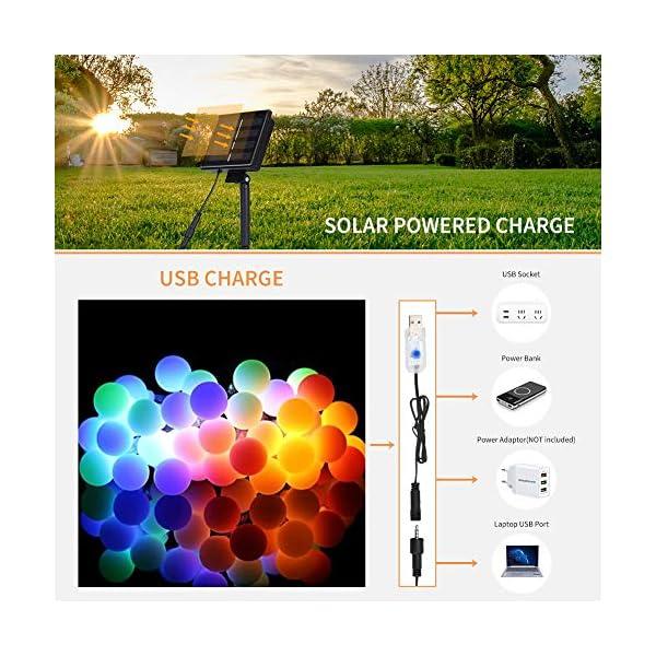 51Y EBynGjL LED Kugel Solar Lichterkette Aussen 11M,DeepDream 60LED USB Globe Lichterkette 8 Modus Wasserdicht, Innen und Außen für…