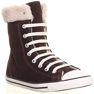 eb544d53d7cbfa Converse 540305 Womens Suede Leather Mid Calf Fur Lace Up Boots   Amazon.co.uk  Shoes   Bags