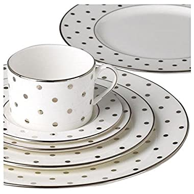 Kate Spade New York Women's Larabee Road Platinum 5 Piece Set White Dinnerware