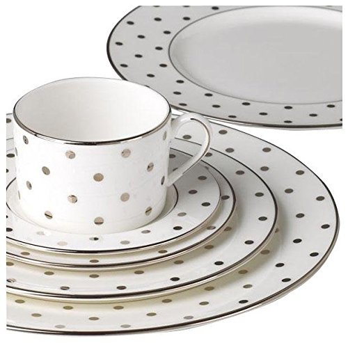 KATE SPADE 815505 Larabee Road Platinum 5-piece Place Setting, 4.5 LB, Metallic - Material: White Bone China Dishwasher Safe Chip Resistant - kitchen-tabletop, kitchen-dining-room, dinnerware-sets - 51Y EsA6PmL -