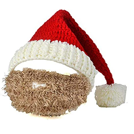 3334332f1c7 Amazon.com  Mini Mexx New Santa Claus Father Christmas Hat with Colorful  Beard Handmade Men and Women Knitted Funny Hats Beanies  Kitchen   Dining