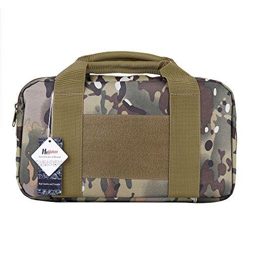 Huijukon Tactical Single Pistol Case Range Bag Handgun Bag 1000D Nylon (CP Campo)
