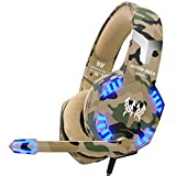 VersionTECH. Stereo Gaming Headset for PS4 Xbox One Controller - Noise Reduction Over Ear Headphones with Mic - Bass Surround & LED Lights for Laptop PC Mac PS3 and Nintendo Switch Games - Camo