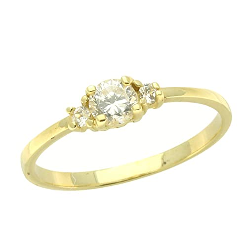 Double Accent 14K Gold Ring White CZ Yellow Gold Ring Size 2 To 5