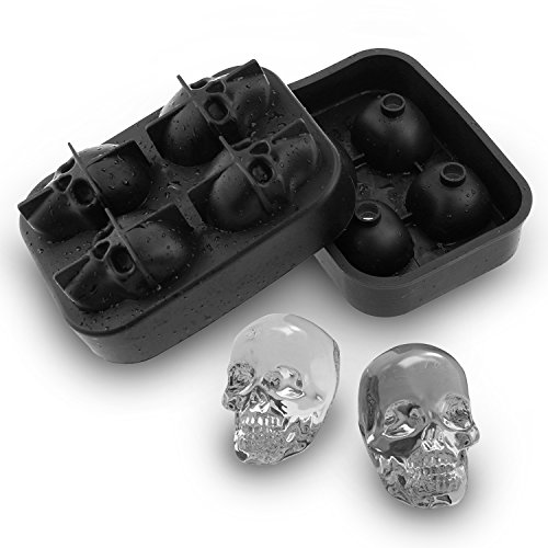 3D Skull Flexible Silicone Ice Cube Mold Tray, Makes Four Giant Iced Skulls, Easy Release Realistic Skull Ice Cube Maker, BPA Free- Enjoy FIFA World Cup Fathers Day Gift