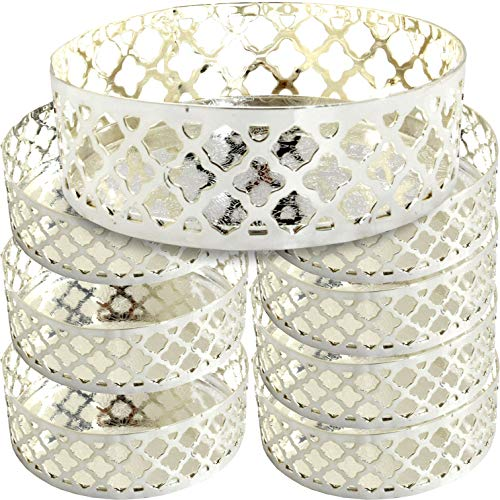Maro Megastore (Pack of 8) 3.9-Inch x 1.3-Inch (H) Round Chrome Plated Gift Bucket Base Nuts Peanuts Candy Sweet Biscuit Dessert Tea Dried Fruits Cake Macaroon Cookies Jewelry Ashtray 3311 Ts-203