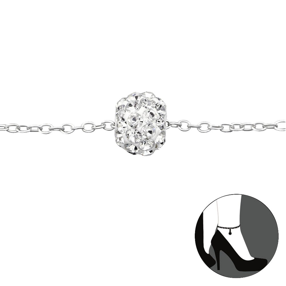 Atik Jewelry Silver Ball Anklet With Crystal - Crystal