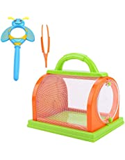 Exploration Critter Case Insect Cage Carrying Handle Portable Bug House with an Insect Magnifier&Tweezers for Indoor&Outdoor Insect Collecting