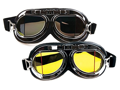 WWII Vintage Goggles, Aviator Pilot Style Motorcycle Cruiser Scooter Goggle, Bike Racer Touring Half Helmet Goggles, Cool MTB Bicycle Summer Winter Snowboard Windproof glasses
