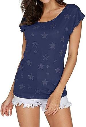 Camisa Mujer Camiseta Tops para Mujer Tops Ropa Verano Sin Mangas Cuello Redondo con Estrellas Casual Camisetas De Moda: Amazon.es: Ropa y accesorios