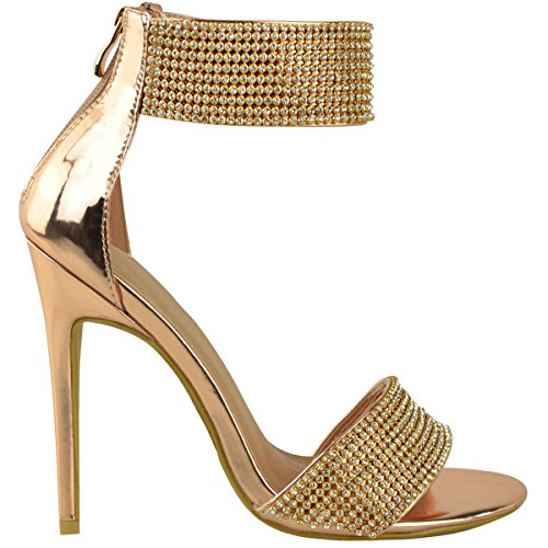 High Gold Sandals Rose Cuff Stiletto Bridal Heel Party Diamante Ankle Thirsty Metallic Fashion Womens x7IBZB