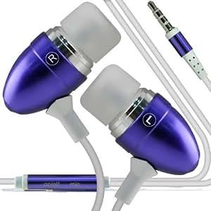 ONX3 LG Optimus L9 II Calidad Premium en auriculares de botón estéreo de manos libres de auriculares Auriculares con micrófono Mic y botón de encendido y apagado (púrpura)