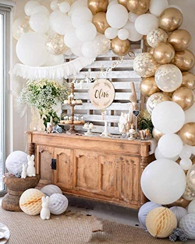 White and Gold Balloon Garland Kit, 60PCS Balloon Garland Including White, Chrome Gold & Confetti Balloons Decorations Backdrop Ideal for Wedding Birthday Baby Shower Bridal Party Decorations