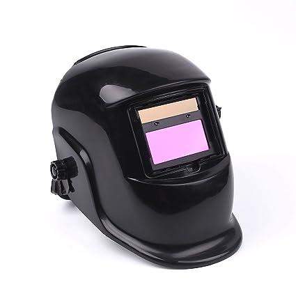 Hanbaili Casco de soldadura, Casco negro Argón Soldadura con arco Máscara protectora Sombreros Protección UV