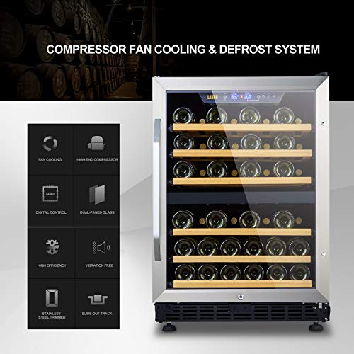 LANBO Dual Zone Wine Refrigerator, 44 Bottle Built-in Under Counter Compressor Wine Cooler, 24 Inch Wide by Lanbo (Image #3)