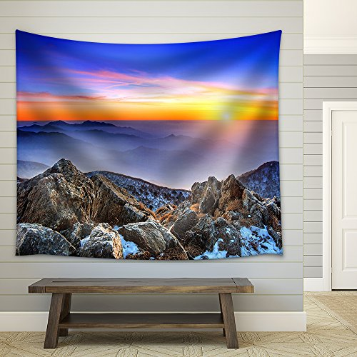 Beautiful Landscape at sunset on Deogyusan National Park in winter South Korea Fabric Wall Tapestry