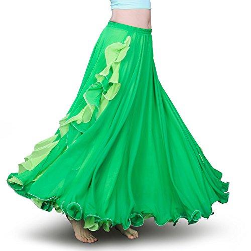 ROYAL SMEELA Women's Belly Dance Chiffon Skirt ATS Voile Maxi Full Tribal Bellydance Dress Green One Size (Belly Dance Fashion)